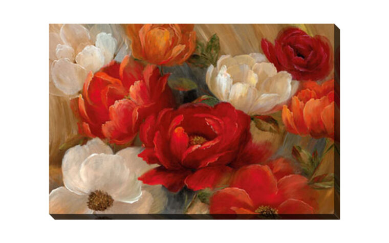 traditional piece of artworking showcasing red, orange and hwite flowers painted on an abstract background