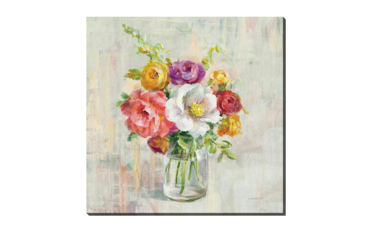 summer treasures is a light, airy painting of a flower vase in bright colorful colors