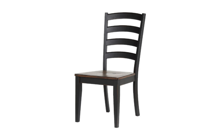 paxton chair is a industrial dining chair with a combination of medium wood and dark wood stain from donald choi