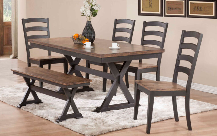 paxton dining set is an industrial dining set in a medium and dark wood stains with traditional wall hangings