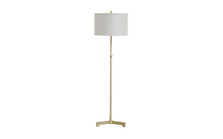 laurinda floor lamp is a gold and white floor lamp with metal base and white shade