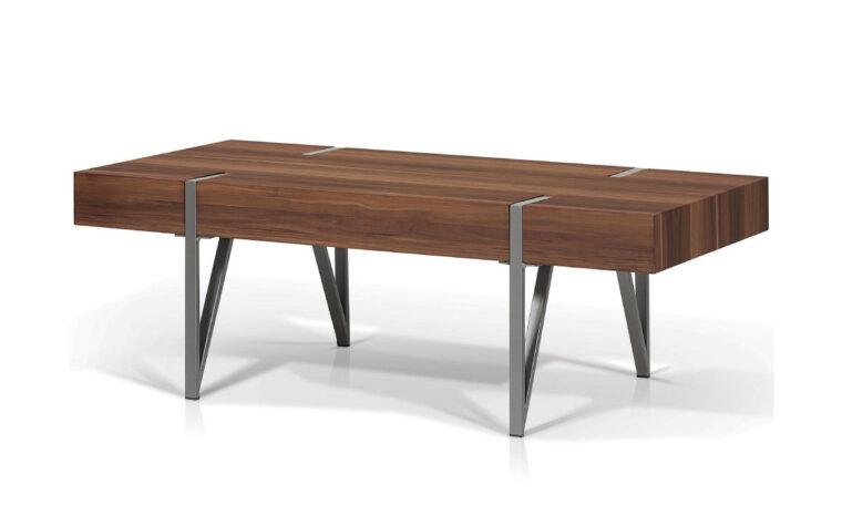 nagoya coffee table is a modern coffee table with a walnut veneer and metal legs
