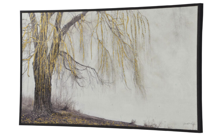 sunday is a contemporary piece of artwork showcasing a tree by a river in a charcoal frame