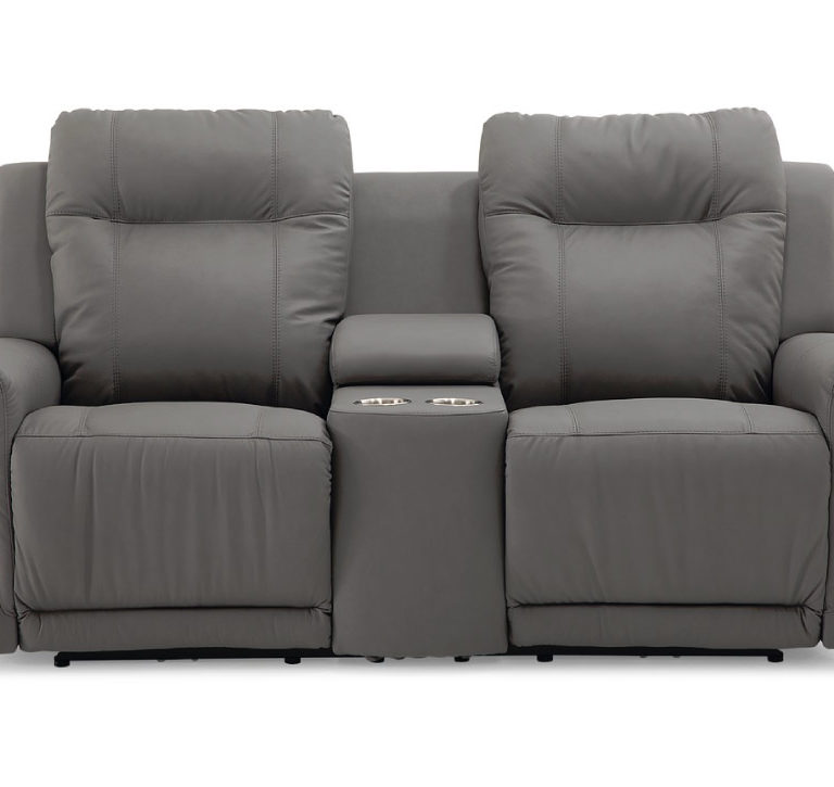 riley loveseat is a relaxed casual loveseat iwth a consol in the middle in a charcoal leather