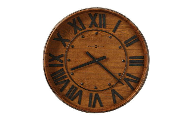 625-453 wine barrel clock is a gallery clock that look slike a wine barrel and features iron roman numerals