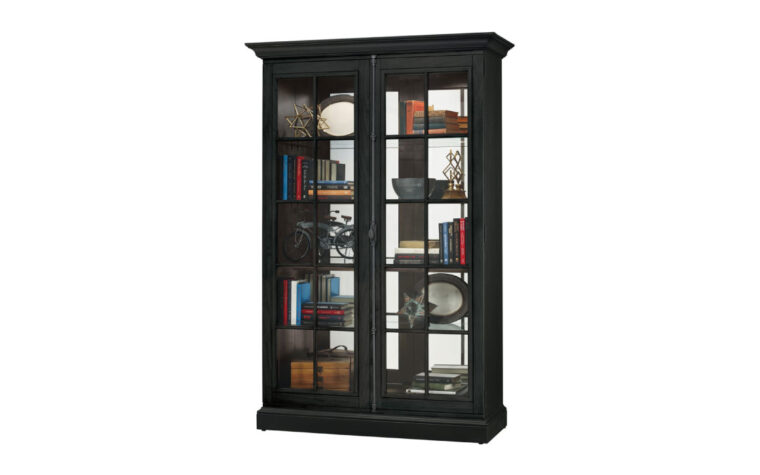 670-023 clawson curio cabinet is a traditional rustic style curio cabient in black with distressing