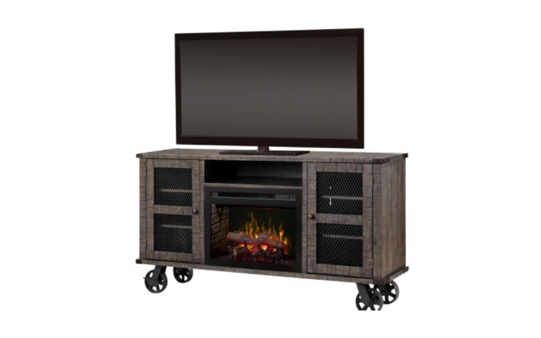 duncan media console fireplace has a rustic flair with industrial metal wheels and a distressed wood finish