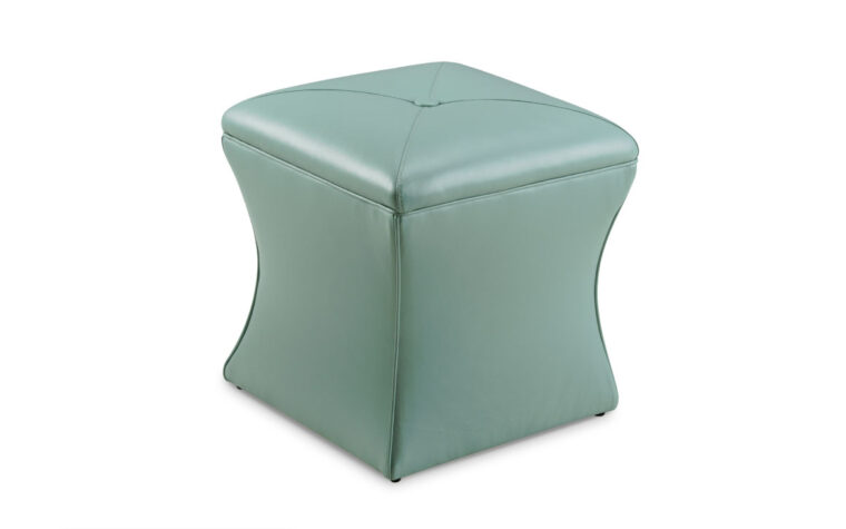 l809 is a transitional ottoman shown in a aqua blue leather with a button on top