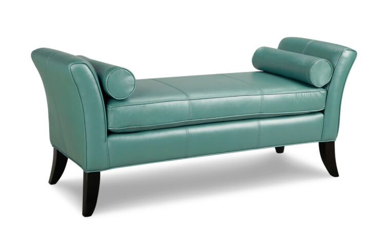 l917 bench is a leather bench shown in a teal blue leather