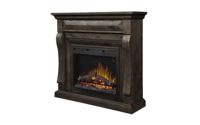 samuel fireplace with mantel is a traditional fireplace with a dark brown wood finish