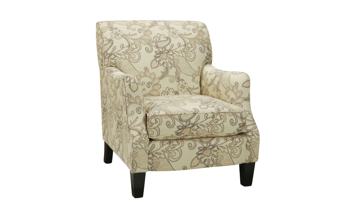 93 chair from superstyle is designed and made in toronto ontario and is a transitional chair with paisley cream fabric and espresso wood legs