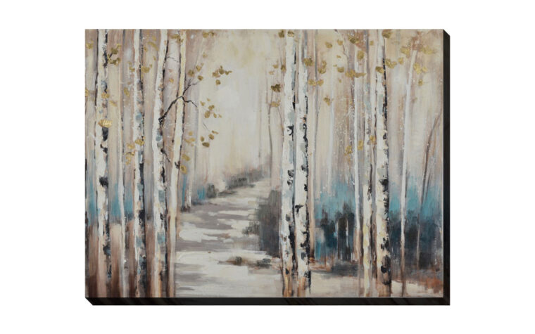 birch gateway is a transitional oil painting on a gallery wrapped canvas that features a birch forest with a path through it