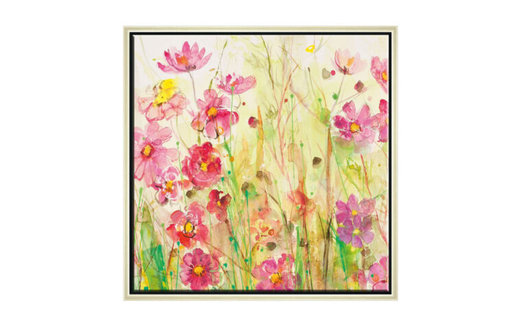 into the meadow i is a bright and colorful painting in yellow and pink with a textured finish and gold frame