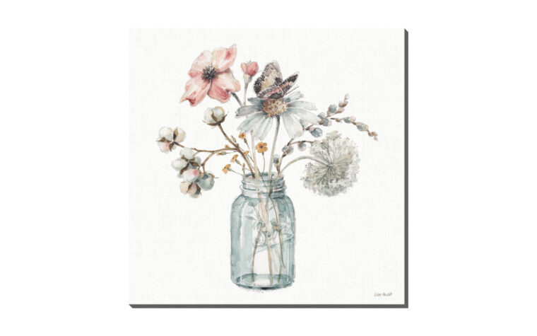 a country weekend ix is a traditional print with a pink and blue flowers in a vase with a butterfly sitting on the flower