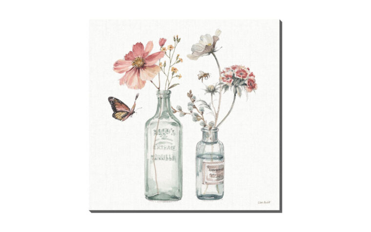 a country weekend is a traditional print on a canvas of a flower in a vase with butterfly