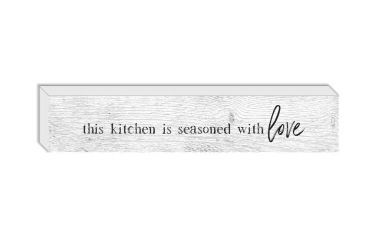 this kitchen is seasoned is a wooden box with typography art saying this kitchen is seasoned with love