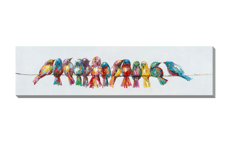 birds gathering is a colorful print on a canvas featuring colorful birds on a line