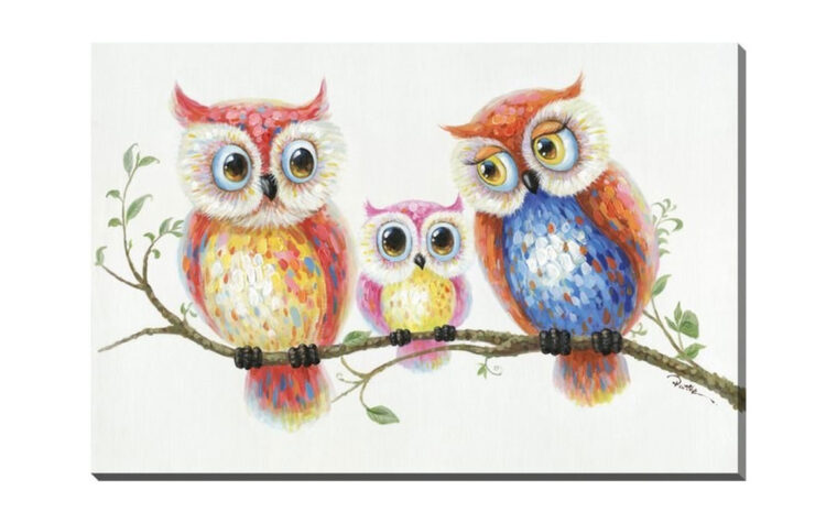 family outing is a cute painting of a owl family on a tree branch in fun colourful paints