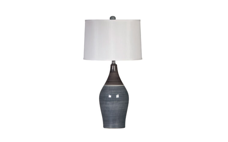 niobe table lamp is a transitional lamp with a ceramic bottom in grey and blue tones