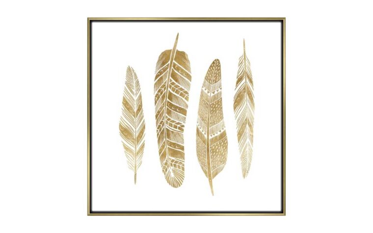 golden jewels is a transitional piece of art featuring gold feathers and a gold frame