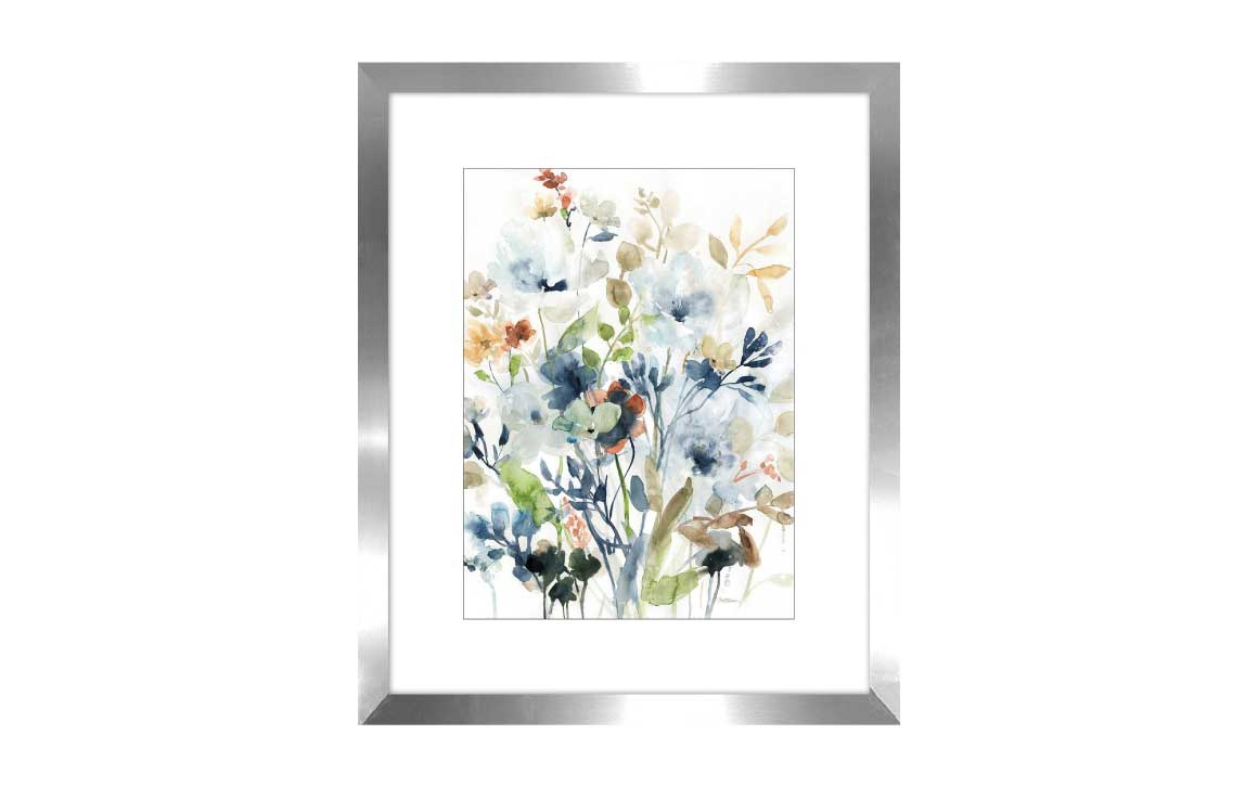 holland spring i is a watercolor painting in green and blue with a white matte and grey frame with glass