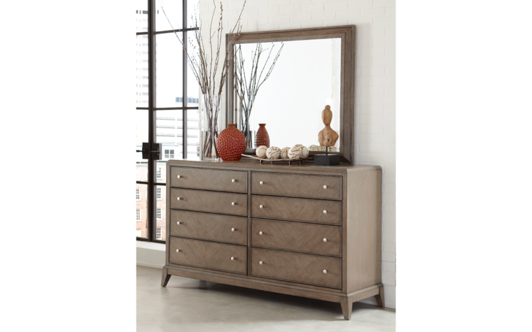 apex dresser with 8 drawers and grey wood finish