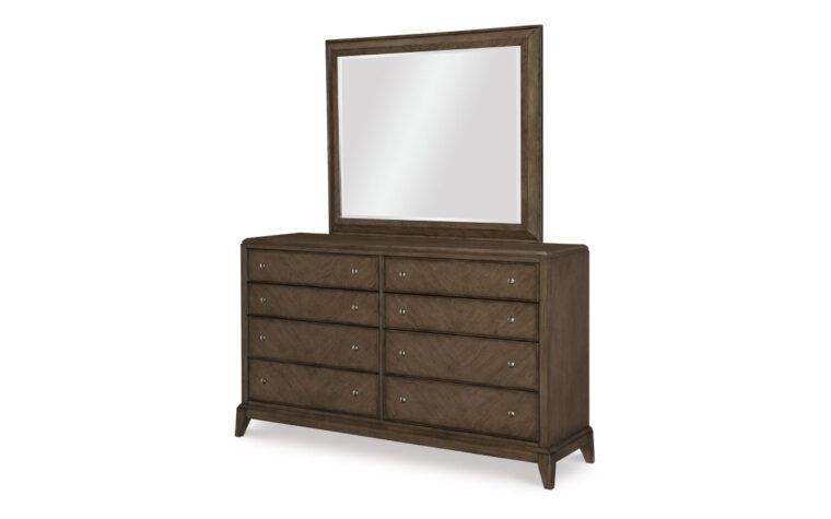 apex dresser in a grey wood finish with a mirror