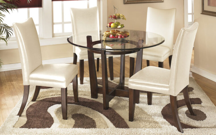 Round Dining Room Table with White Leather Chairs