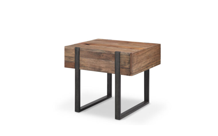 T4344-03 Prescott End Table with distressed iron base