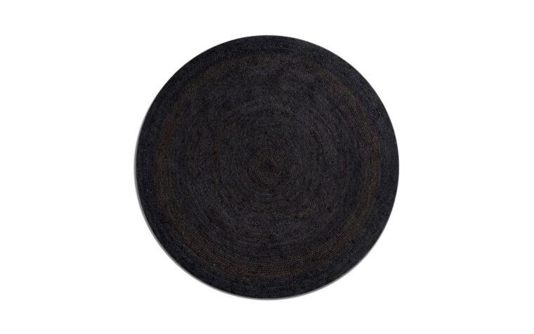 Black Round Jute Rug