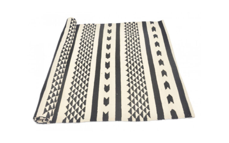 Black & White Contrast Rug rolled