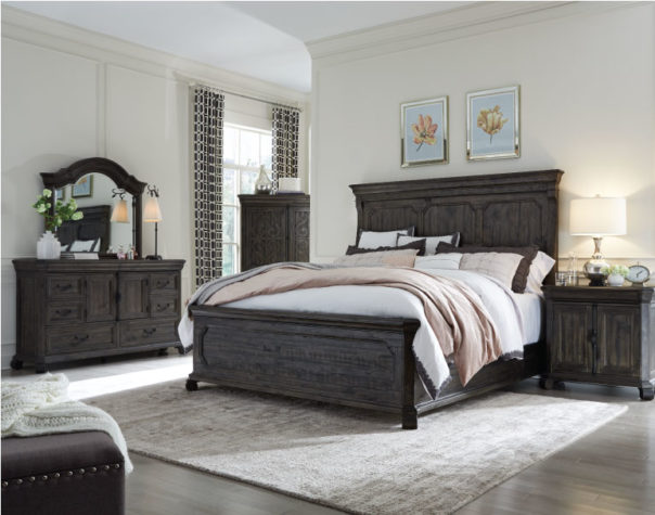 Bellamy bedroom set from Magnussen with area rug