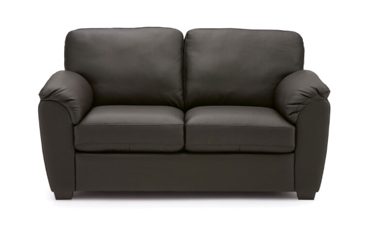 lanza loveseat in black leather
