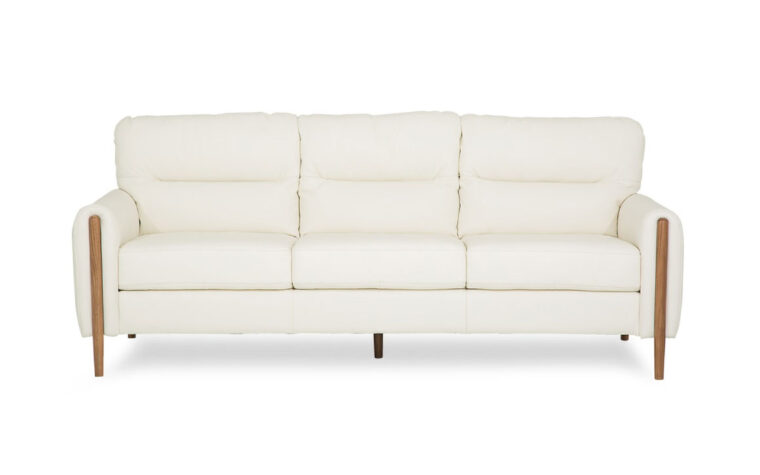 zander sofa in white leather brown wood legs