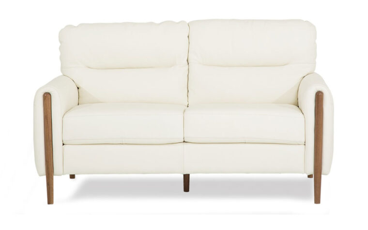 zander loveseat in white leather with wood leg