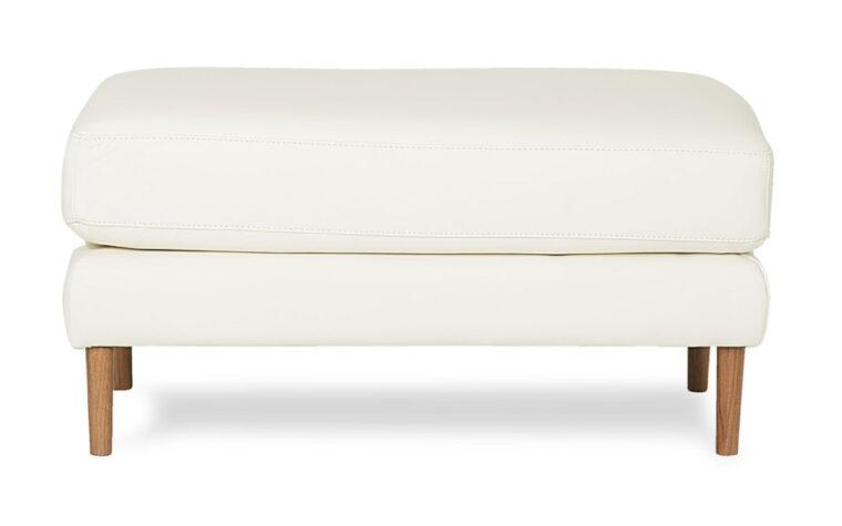 zander ottoman in white leather
