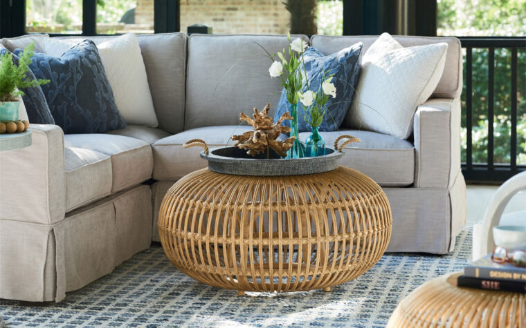 Rattan Scatter Table room shot