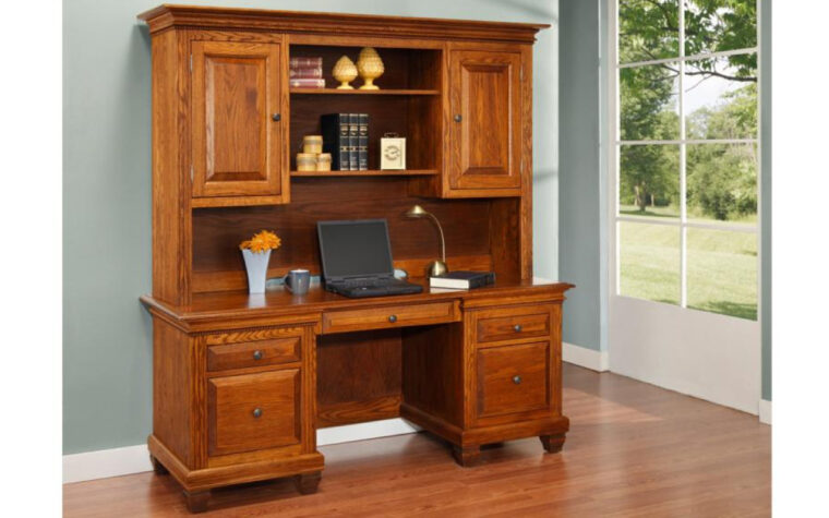 Florentino Computer Station with Hutch by Handstone Furniture