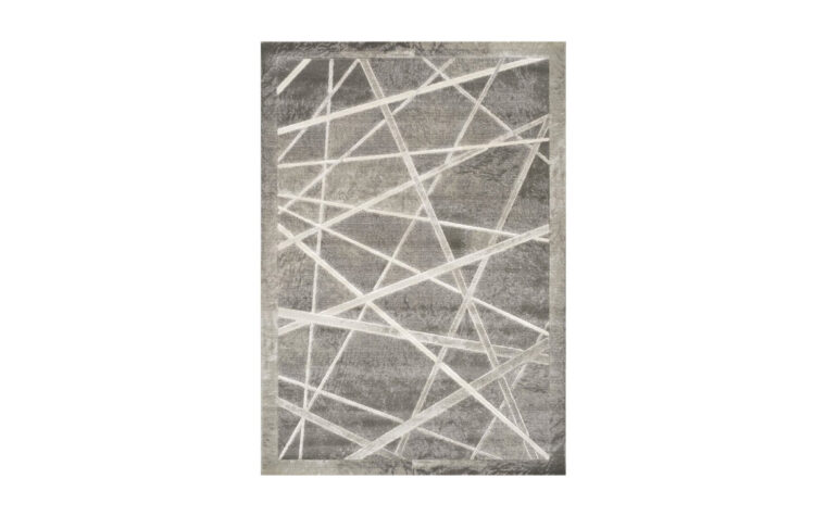 Alaska Area Rug by Kalora - white lines criss-crossing a grey area rug with a grey border