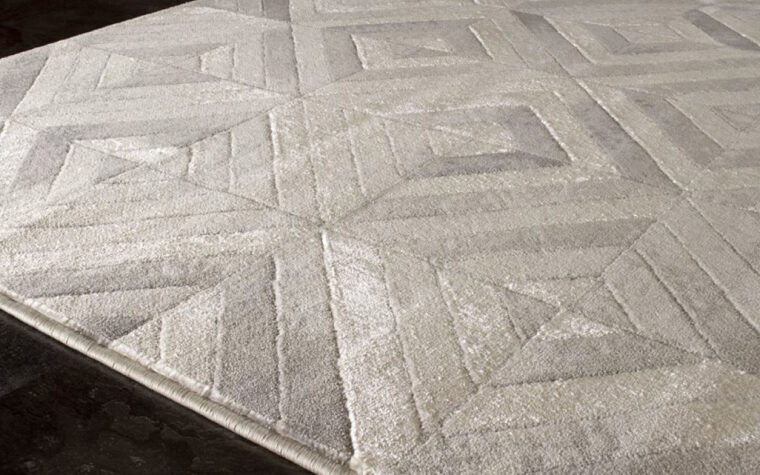 Alaska II Area Rug by Kalora - rug with varying degrees of grey overlapping in a geometric pattern of squares