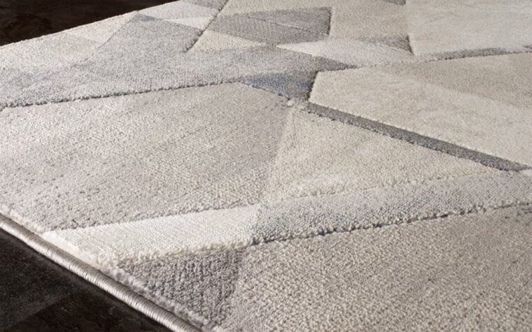 Alida Area Rug by Kalora - geometric abstract area rug in a variety of greys and creams