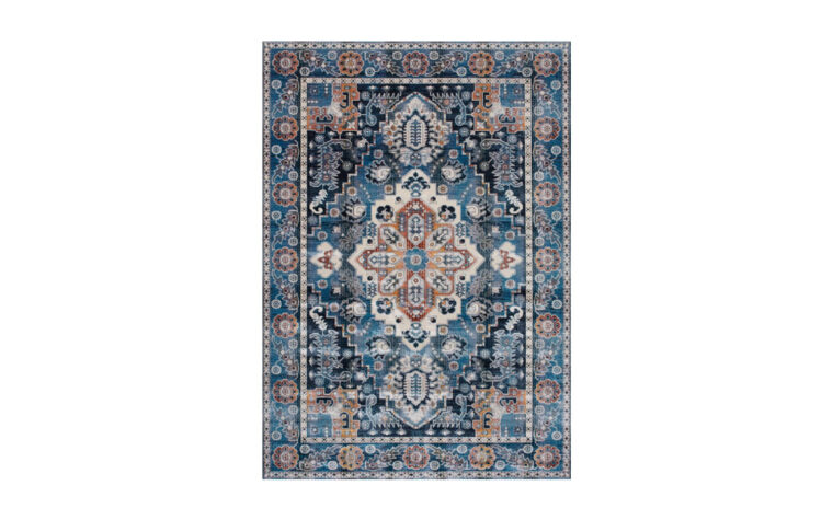 Antika Area Rug by Kalora - deep blue traditional, tapestry-style area rug with intricate orange and cream patterns overlaid