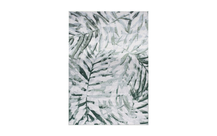 Antika II Area Rug by Kalora - palm branch pattern overlaid on cream background