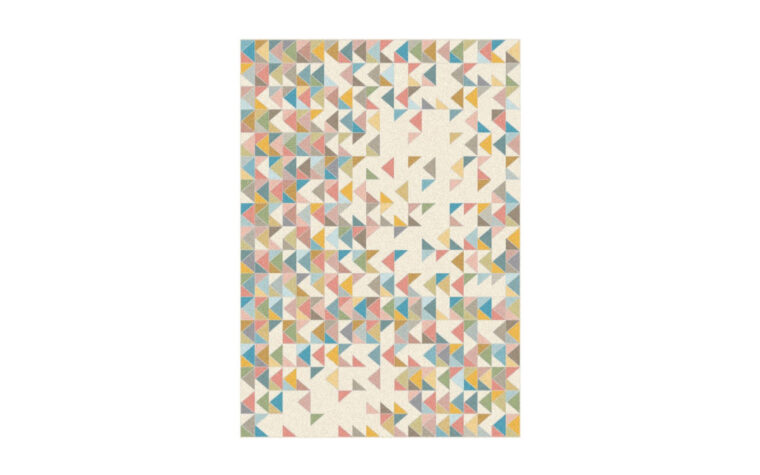Belle Area Rug by Kalora - multi-coloured pattern of small triangles intersecting on a cream background