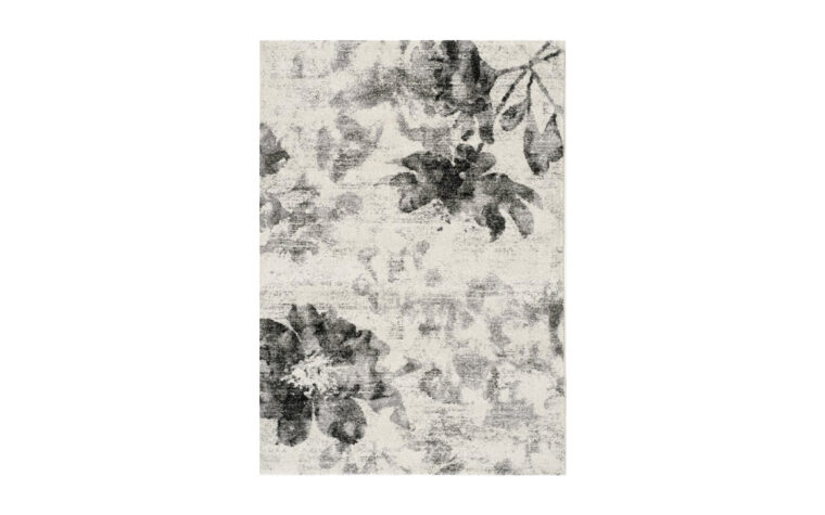 Breeze Area Rug by Kalora - grey and cream floral, antiqued pattern on floor rug