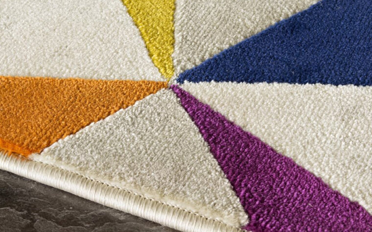 Brighton Area Rug by Kalora - multi-coloured geometric pattern on contemporary area rug (close-up)