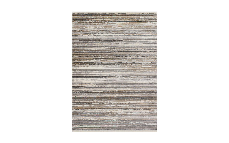 Calabar Area Rug by Kalora - thin sedimentary-style striped pattern of neutral brown and black tones