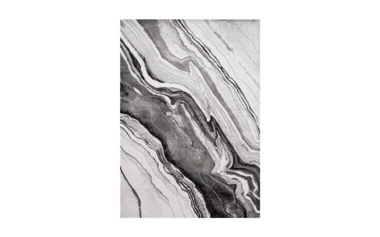 Chorus Area Rug by Kalora - black, cream, and grey marbled area rug - modern