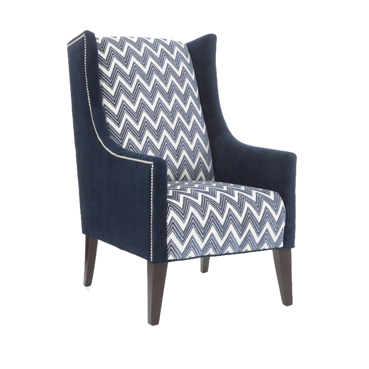 2310 Accent Chair by Decor-Rest - upholstered with combination of dark navy fabric and navy and white zig-zag fabric, along with white trim detailing