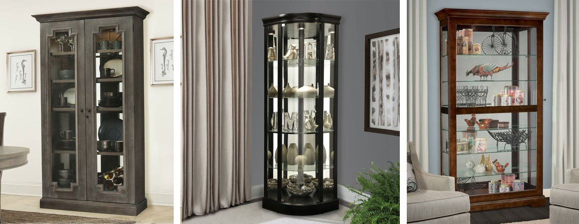 Howard Miller Curio Cabinet - 3 styles in living rooms with integrated lighting and glass shelves